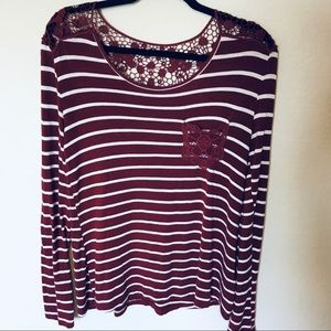 Wishful Park Maroon Striped Top w/Lace szM